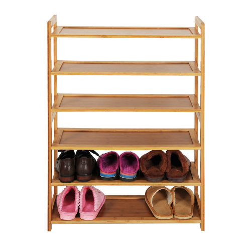 Concise Rectangle 6 Tiers Bamboo Shoe Rack Wood Color(In stock in the US)