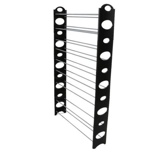 10-Tier 50-Pair-of-shoes Adjustable Steel & Plastic Shoe Rack Black & Silver(In stock in the US)