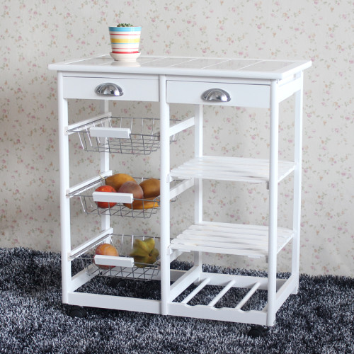 Kitchen & Dining Room Cart 2-Drawer 3-Basket 3-Shelf Storage Rack with Rolling Wheels White(In stock in the US)