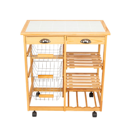 Kitchen & Dining Room Cart 2-Drawer Removable Storage Rack with Rolling Wheels Wood Color(In stock in the US)