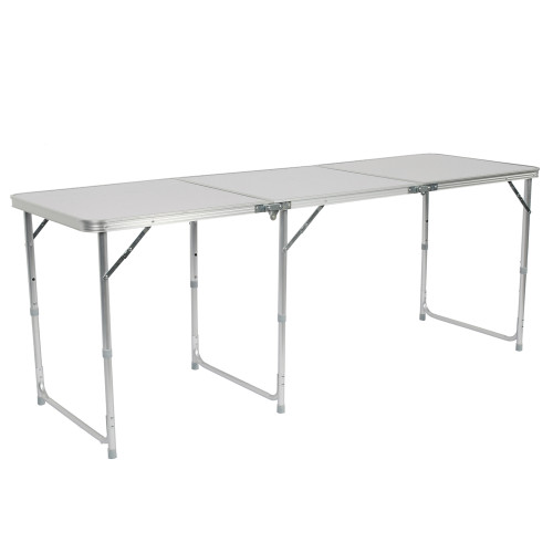 180 x 60 x 70cm Home Use Aluminum Alloy Folding Table White (In stock in the US)