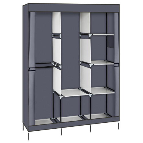 71  Portable Closet Wardrobe Clothes Rack Storage Organizer with Shelf Gray(In stock in the US)