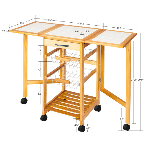 Portable Rolling Drop Leaf Kitchen Storage Trolley Cart Island Sapele Color(In stock in the US)
