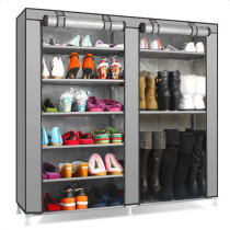 Double Rows 9 Lattices Combination Style Shoe Cabinet Gray(In stock in the US)