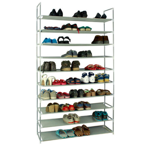100cm Ultra Large Capacity 10 Layers Non-woven Fabrics & Steel Shoe Rack Gray(In stock in the US)
