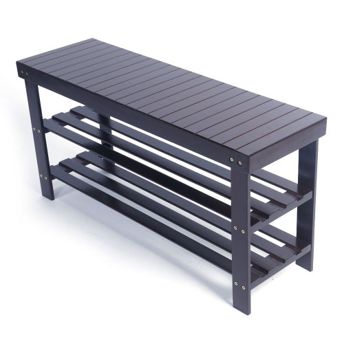 90cm Strip Pattern 3 Tiers Bamboo Stool Shoe Rack Coffee(In stock in the US)