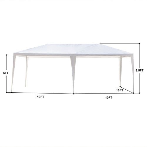 3 x 6m Four Sides Waterproof Tent with Spiral Tubes White(In stock in the US)