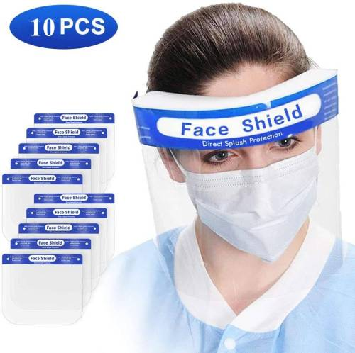 10PCS Face shield. Reusable transparent full-face safety masks with comfortable foam, adjustable straps for all sizes.(In stock in the US)