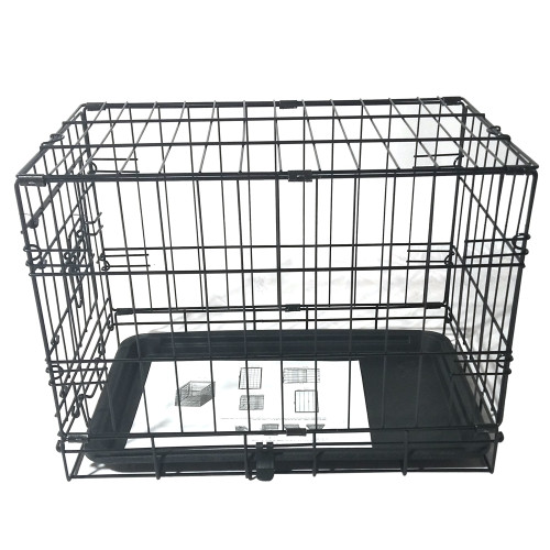 20''Pet Kennel Cat Rabbit Folding Steel Crate Animal Playpen Wire Metal Cage Black
