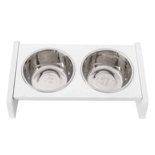 Stainless Steel Double Bowl Non Slip Small Twin Pet Cat Dog Bowl with 20 Degree Tilt Design for Cats and Small Dogs White