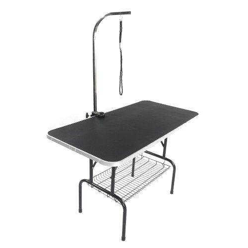 48  Foldable Pet Grooming Table with Mesh Tray and Adjustable Arm Silver Base with Black Table