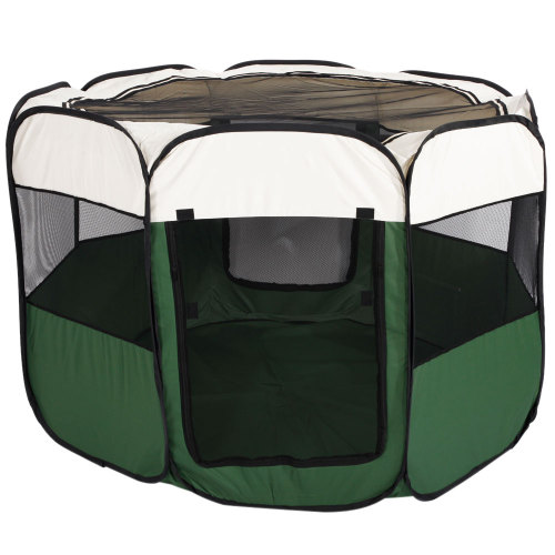 57''Portable Foldable 600D Oxford Cloth & Mesh Pet Playpen Fence with Eight Panels Green