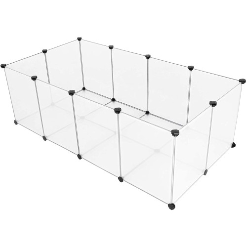 Pet Playpen,Fence Cage with Bottom for Small Animals Guinea Pigs, Hamsters, Bunnies, Rabbits
