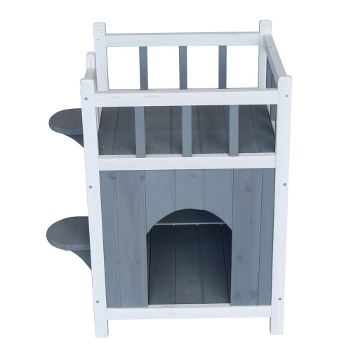 Wooden Cat Pet Home with Balcony Pet House Small Dog Indoor Outdoor Shelter Gray & White