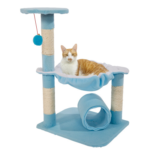 28''Stable Cute Sisal Cat Climb Holder Cat Tower Lamb Blue