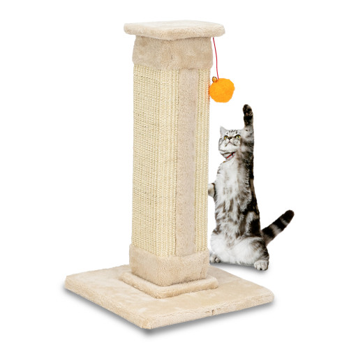 21''Cat Climb Holder Tower Cat Tree Cat Scratching Sisal Post Tree Climbing Tower Beige