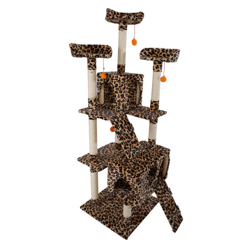 72''Stable Cute Sisal Cat Climb Holder Cat Tower Leopard Print