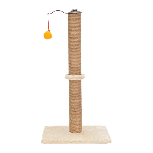 26''360°Rotatable Cat Climb Holder Tower Cat Tree Cat Scratching Sisal Post Tree Climbing Tower Beige with Two Toys