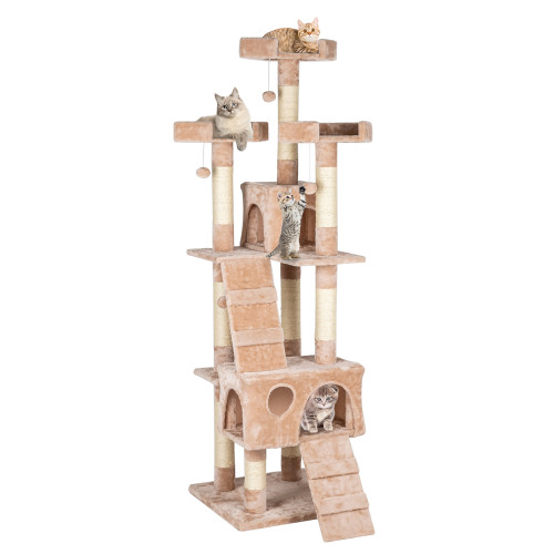 66''Sisal Hemp Cat Tree Tower Condo Furniture Scratch Post Pet House Play Kitten with Cozy Perches Beige