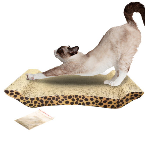 Cute U Shape Corrugated Paper Pet Cat Toy Cat Claw-grinding Plate with Catnip Leopard Print Pattern
