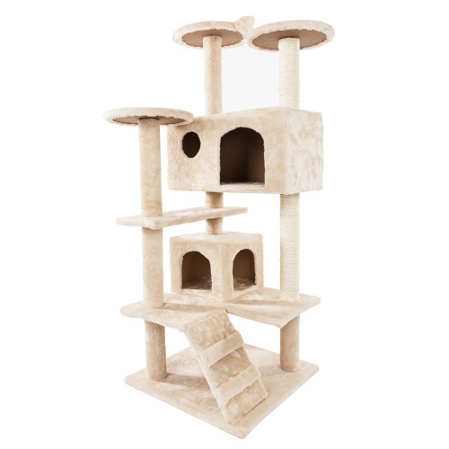 52''Solid Cute Sisal Rope Plush Cat Climb Tree Cat Tower