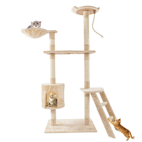60''Solid Cute Sisal Rope Plush Cat Climb Tree Cat Tower Beige
