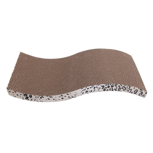 Cool S-style Harden Corrugated Paper Pet Cat Toy Cat Claw-grinding Plate with Catnip Leopard Print