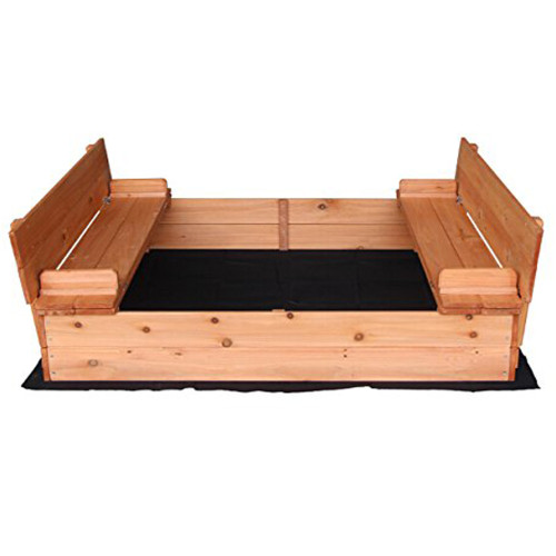 Fir Wood Sandbox with Two Bench Seats Natural Color