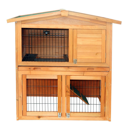 40''Triangle Roof Waterproof Wooden Rabbit Hutch A-Frame Pet Cage Wood Small House Chicken Coop Natu
