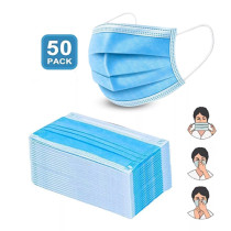 Disposable adult masks, three layers, strong air permeability, nose clip (available in USA)