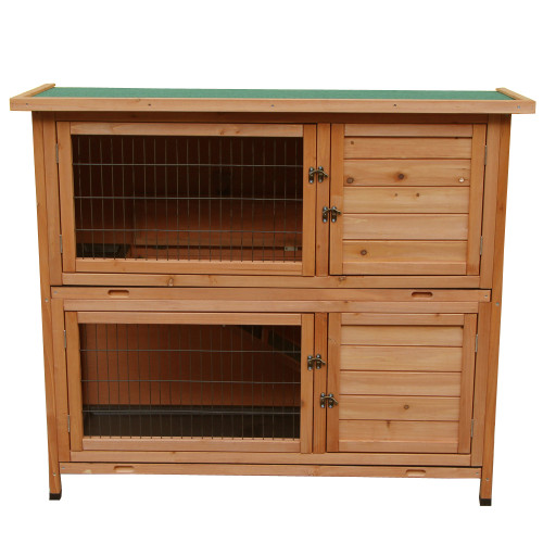 48''2 Tiers Waterproof  Coop Rabbit Hutch Wood House Pet Cage for Small Animals