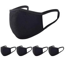 5 Pack Washable and Reusable Cotton Mask, Fashion Unisex Black Fabric Dust Covering