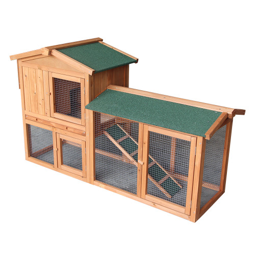 61''Wooden Chicken Coop Hen House Rabbit Wood Hutch Poultry Cage Habitat