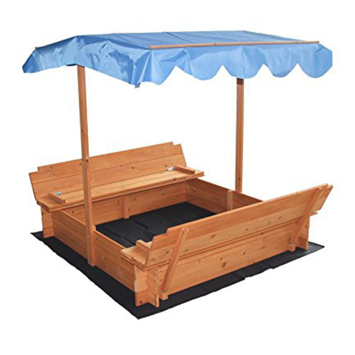 Covered Convertible Outdoor Sand Pit Fir Sandbox with Canopy & 2 Bench Seats for Kids