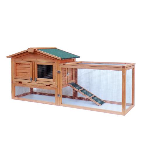 61''Waterproof Two-tier Wooden Rabbit Hutch Cage Chicken Coop House Bunny Hen Pet Animal Backyard Ru