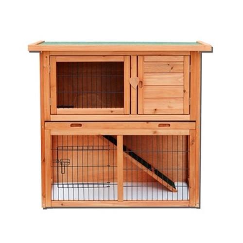 36''Waterproof 2 Tiers Pet Rabbit Hutch Chiken Coop Cage Hen House Wood Color