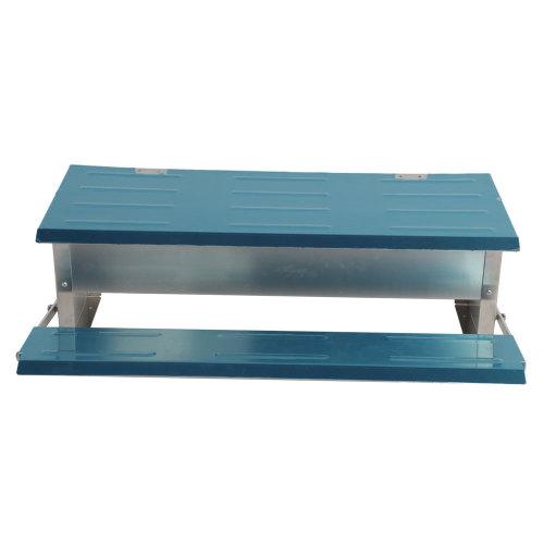 Automatic Chicken Feeder Treadle Self Open Aluminum Feeder Feeding Trough Blue & Silver