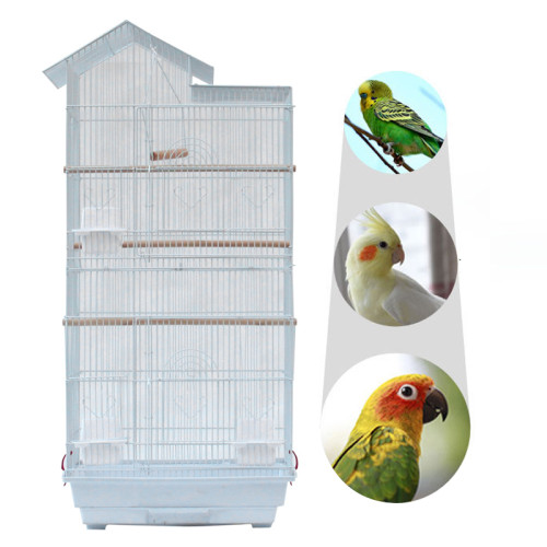 39''Bird Parrot Cage Canary Parakeet Cockatiel LoveBird Finch Bird Cage with Wood Perches & Food Cups