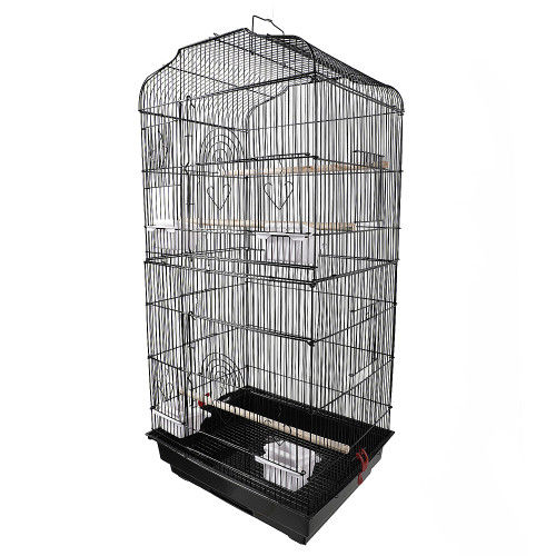 37''Bird Parrot Cage Canary Parakeet Cockatiel LoveBird Finch Bird Cage with Wood Perches & Food Cups