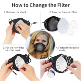 New adult KN95 face mask, food-grade silicone material, dust-proof, splash-proof, easy to disassemble, easy to operate, and equipped with 10 filters