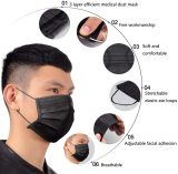 50pcs Black disposable three-layer face mask, breathable dust-proof mask, retractable elastic ear hook,  (available in USA)