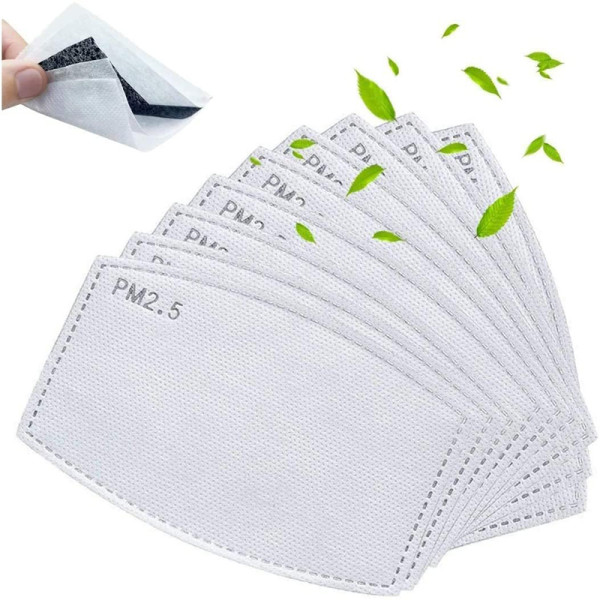 50 Pcs Adults Activated Carbon Filters (Men and Women Size) 5 Layers Replaceable Filters Paper