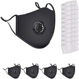 5 Pack Protective Covers with 10 Carbon Filter Sheet,Washable Reusable Protection Cover with Breathing Valve