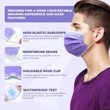 50 Pcs Disposable Face Cover 3-Ply Medical Breathable Earloop Masks Stretchable Elastic Ear Loops (Purple)