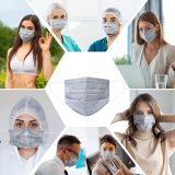 50 Pcs Disposable Face Cover 3-Ply Medical Breathable Earloop Masks Stretchable Elastic Ear Loops (Grey))
