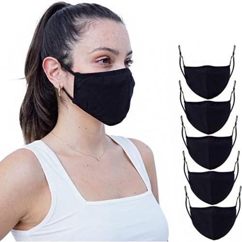 5 Pcs Unisex Reusable Cotton Adjustable Protective Face Protector 4 Ply