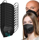 Black Face Masks With Breathing-Valve 20 Pcs,  Filter Efficiency≥95% 5 Layers Masks