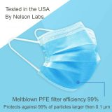 50 Pcs 3-Ply Disposable Face Masks PFE 99% Filter Tested by Nelson Labs USA