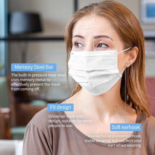 50 Pcs Disposable Face Cover 3-Ply Medical Breathable Earloop Masks Stretchable Elastic Ear Loops (White)
