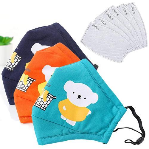 Dustproof Fashion Protective, Washable, Reusable Cotton Fabric Cartoon Bears Cotton for Kid Children. (3Pcs+10Filters)
